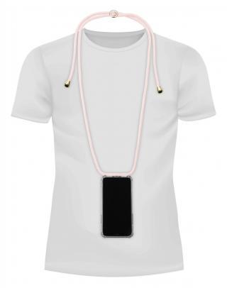 Cellularline Neck-Case zadní kryt čirý pro Apple iPhone 11, s růžovou šňůrkou