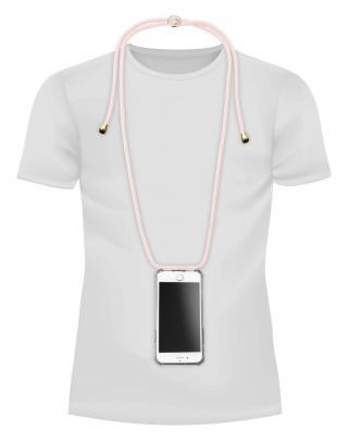 Cellularline Neck-Case zadní kryt čirý pro Apple iPhone 6/7/8, s růžovou šňůrkou