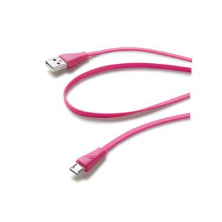 CellularLine Plochý datový kabel USB-microUSB 1m růžový