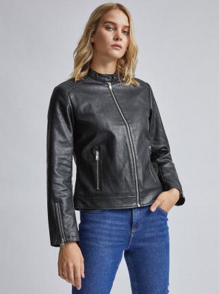Černá koženková bunda Dorothy Perkins dámské M