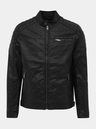 Černá koženková bunda Jack & Jones Rocky pánské L