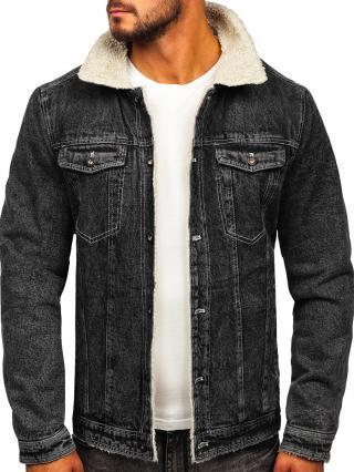 Černá pánská džínová zateplená bunda trucker s koženým límcem Bolf 1160 M