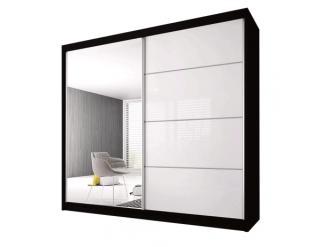 Černá skříň s posuvnými dveřmi Tiler 3 bílá-černá