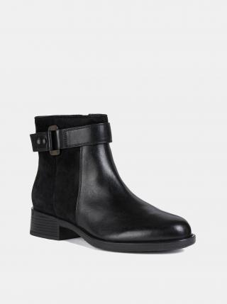 Černé dámské kožené kotníkové boty Geox dámské černá 39