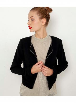 Černé dámské sako s ozdobným lemováním CAMAIEU dámské černá XXL
