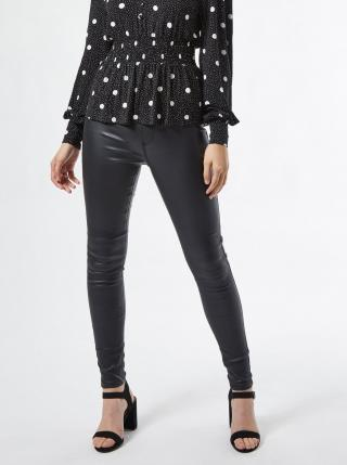 Černé koženkové skinny fit kalhoty Dorothy Perkins - M dámské černá M