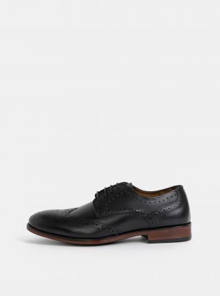 Černé pánské kožené polobotky Burton Menswear London pánské černá 44