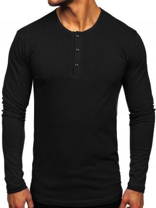 Černé pánské tričko s dlouhým rukávem na knoflíky Bolf 1114 2XL