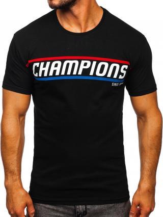 Černé pánské tričko s potiskem Bolf SS10953 L