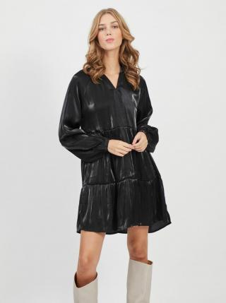 Černé volné lesklé šaty VILA dámské černá L