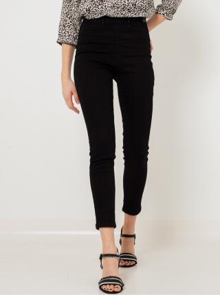 Černé zkrácené skinny fit džíny s vysokým pasem CAMAIEU dámské černá XXL