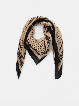 Černo-béžový vzorovaný šátek Pieces Lulan dámské béžová