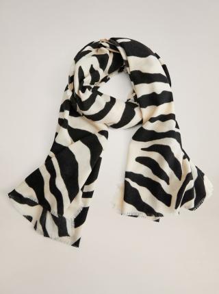 Černo-krémový vzorovaný šátek Mango dámské krémová