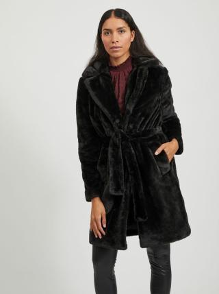 Černý kabát z umělého kožíšku VILA dámské černá S