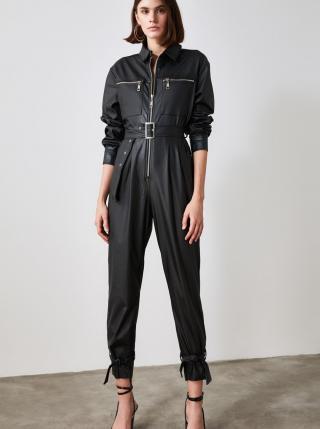 Černý koženkový overal Trendyol dámské černá L