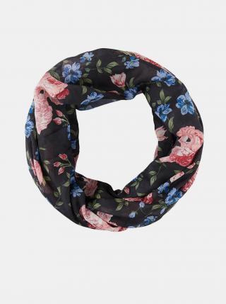 Černý květovaný šátek Pieces Avola dámské černá