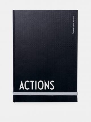 Černý zápisník Design Letters černá