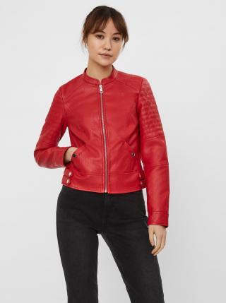 Červená koženková bunda VERO MODA Love dámské XS