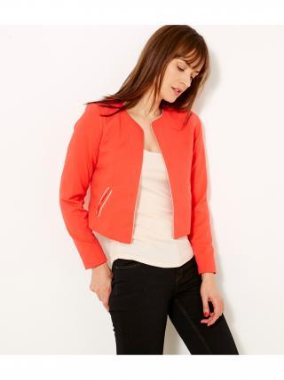 Červené dámské sako s ozdobným lemováním CAMAIEU dámské červená S