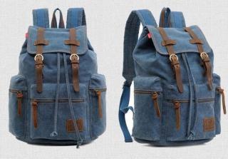 Cestovní plátěný batoh s kůží - 8 barev Barva: modrá