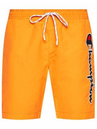 Champion Plavecké šortky Satin Script Logo 214428 Oranžová Regular Fit pánské S