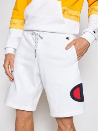 Champion Sportovní kraťasy Satin & Twill C Logo 214207 Bílá Comfort Fit pánské XL