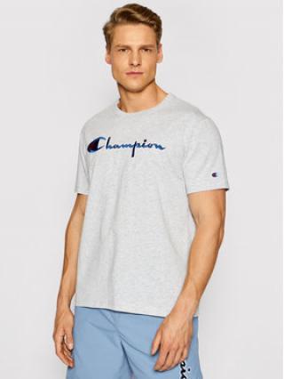 Champion T-Shirt Script Logo Crew 210972 Šedá Regular Fit pánské S