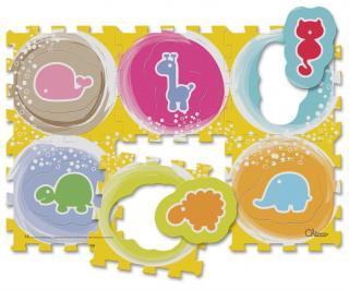 CHICCO Pěnové puzzle Zvířátka 30x30 cm, 6 ks žlutá
