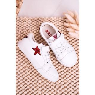 Childrens Leather Sneakers With A Star BIG STAR DD374102 White Neurčeno 35