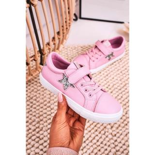 Childrens Leather Sneakers With A Star BIG STAR DD374104 Pink Neurčeno 31