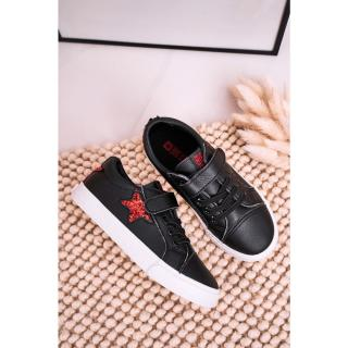 Childrens Leather Sneakers With A Star BIG STAR DD374105 Black Neurčeno 35