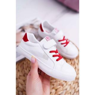 Childrens Sneakers With Velcro Big Star DD374106 White-Red Neurčeno 35