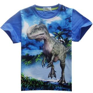 Chlapecké 3D tričko s potiskem dinosaura - 3 barvy Barva: modrá, Velikost: 4