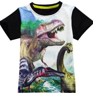 Chlapecké 3D tričko s potiskem dinosaurů - 3 barvy Barva: černá, Velikost: 4