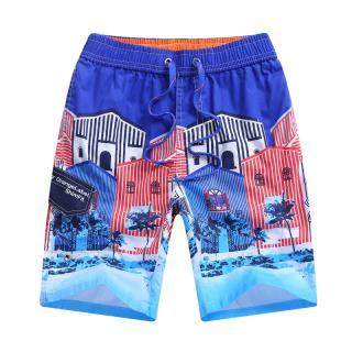 Chlapecké plážové kraťasy s potiskem domů - 2 barvy Barva: modrá, Velikost: 7