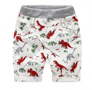 Chlapecké šortky s potiskem dinosaurů - 2 barvy Barva: červená, Velikost: 2