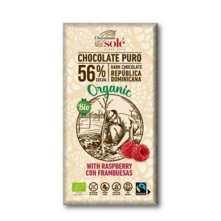 Chocolates Solé - 56% bio čokoláda s malinami