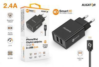 Chytrá síťová nabíječka ALIGATOR 2.4A, 2xUSB, smart IC, kabel pro iPhone/iPad 2A, černá