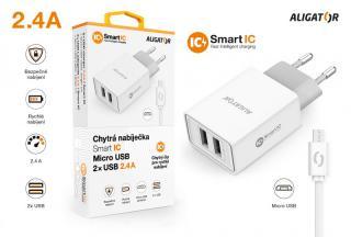 Chytrá síťová nabíječka ALIGATOR 2.4A, 2xUSB, smart IC, Micro USB kabel 2A, bílá