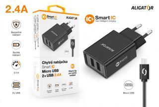 Chytrá síťová nabíječka ALIGATOR 2.4A, 2xUSB, smart IC, Micro USB kabel 2A, černá