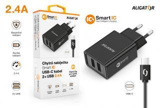 Chytrá síťová nabíječka ALIGATOR 2.4A, 2xUSB, smart IC, USB-C kabel 2A, černá