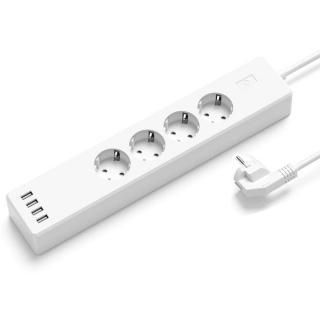 Chytrý prodlužovací přívod 4 zásuvky s USB Barva: bílá