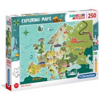Clementoni 29062 - Puzzle Exploring Maps 250 Skvělá místa v Evropě