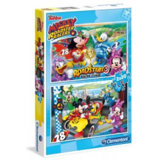 Clementoni 7034 - Puzzle Supercolor 2x20 Mickey závodník