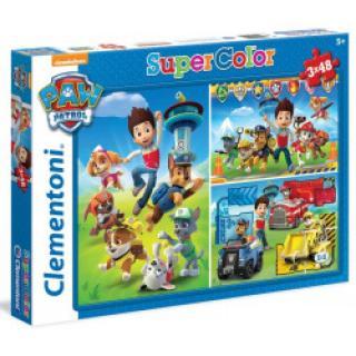 Clementoni - Puzzle Suppercolor 3x48, Tlapková patrola