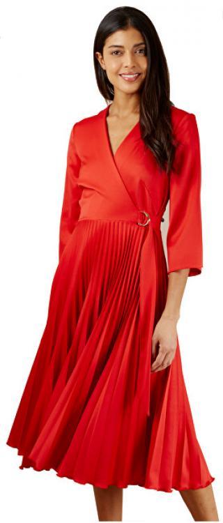 Closet London Dámské šaty Closet Wrap Pleated Dress Red XXL dámské