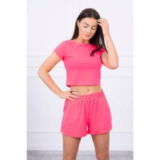 Cotton set with shorts pink neon dámské Neurčeno One size