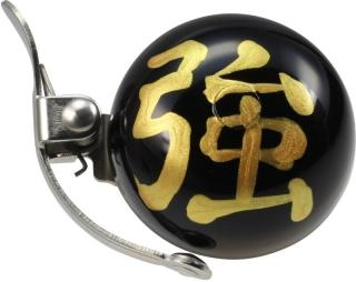 Crane Bell Handpainted Mini Suzu Bell w/ Steel Band Mount Omamori Strength Black