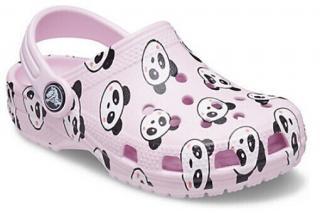 Crocs Kids Classic Panda Print Clog Ballerina Pink 32-33 32