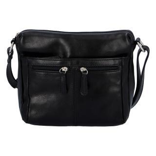 Dámská kožená crossbody kabelka černá - ItalY ItOff dámské